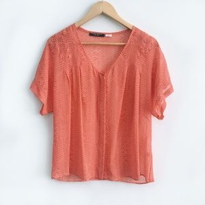 Waverly Grey Coral Silk Blouse - size Small